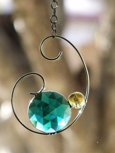 Pressed Glass Medallion and Wire Suncatcher by newmoonglass