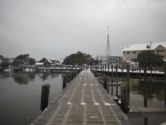The Manteo Waterfront covered with snow. :: January 29, 2014 :: #SnOBX