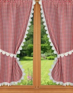 red vichy curtain red vichy curtain Shower curtains, bed bathIve always wanted a Trendy bathroom window Vintage Kitchen Curtains, Kitchen Window Valances, Window Cornices, Kitchen Curtain Sets, Kitchen Shades, Rideaux Design, Curtain Designs, Drapes Curtains, Cream Curtains