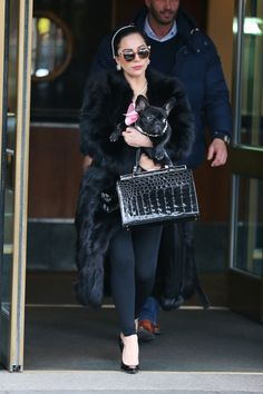 Lady Gaga seen in matching pearls with her French Bulldog, Asia.