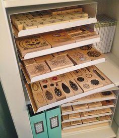 Wooden Stamp Storage/Organizer Rubber Stamp Storage, Scrapbook Storage,  Scrapbook Room Organization,