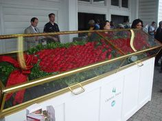 Kentucky Derby Flower Blanket displayed until the presentation of the winner... created by Kroeger ... Run for the ROSES!