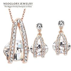 Neoglory 4 Color Fashion Good Quality Austrian Crystal Rhinestone Jewelry Sets Wedding Bridal  2017 New Charm Brand