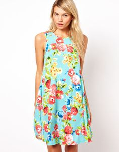 Sleeveless Swing Dress In Floral Print by ASOS