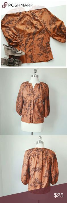 WHIT 100% Silk Blouse - SZ S - WHIT - Rust Orange/ black - 100% Silk - Size Small 38in chest, 23in L, 17in sleeve - Hidden Placket buttons, blouson sleeves, Grain print WHIT Tops