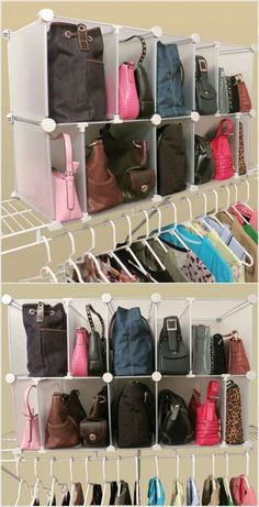 closet systems, storage and organization options. Customize your closet storage with shelves and bins and get expert advice for storage solutions. Closet Organisation, Purse Organization, Closet Storage, Bedroom Storage, Diy Storage, Storage Cubes, Pantry Storage, Storage For Purses, Purse Organizer Closet