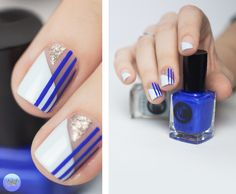 Nail art featuring Cirque Colors MEET ME IN MONTAUK, RHAPSODY IN BLUE and CIN CIN