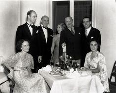 August 1935 dinner at Pickfair. From left: Mrs. Samuel Goldwyn (seated), John Abbott, Samuel Goldwyn, Mary Pickford, Jesse Lasky, Harold Lloyd, Iris Barry (seated)