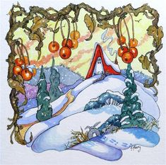 "Daily Paintworks - ""Winter Fruit Storybook Cottage Series"" - Original Fine Art for Sale - © Alida Akers"