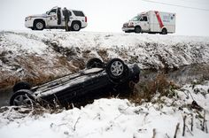An woman got the scare of her life Dec. 19 when she rolled her car into a water-filled ditch on Gibson Road. Four Mounties entered the water to rescue the woman. Old Women, Monster Trucks, Times, Woman, Water, Gripe Water, Aqua