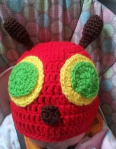 Hungry Caterpillar crocheted hat.