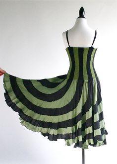 90's Grunge Green Optical Striped Dress. 58.00, via Etsy.