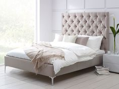 High Headboard Beds Elise Tall Buttoned Headboard Upholstered B On Bedroom Extraordinary Upholstered Bed For Captivating