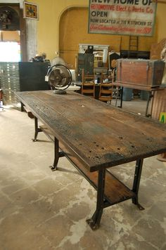 """Perfect match for our industrial bar stools in """"Weathered"""". www.reclaimedintheusa.com"""