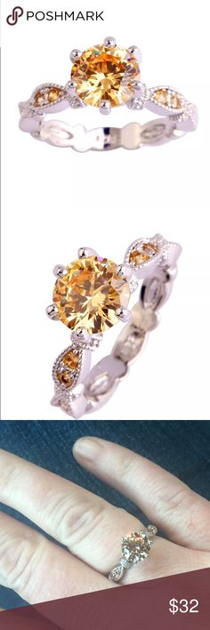 1.2ct round Morganite in Sterling Silver Ring Beautiful Morganite Gemstones in Sterling silver setting. Center stone 1.2ct. Eight round Morganite Gemstones inlaid in the band. Very pretty ring. Jewelry Rings
