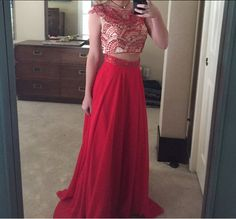Two Pieces Beading A-Line Charming Prom Dresses,Long Evening Dresses,Long Prom Dresses,Floor Length Prom Gown