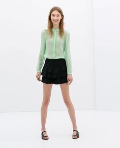 ZARA - WOMAN - RUFFLE SKIRT and love the colour of the blouse