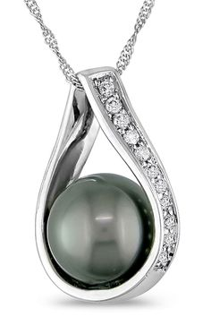 Tahitian Pearl 8.5-9mm Tahitian Pearl & 0.1Ct Pendant In 14k White Gold - Beyond the Rack $345.99 #diamondpendantnecklace