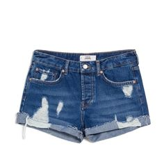MANGO Denim Cotton Shorts ($50) ❤ liked on Polyvore