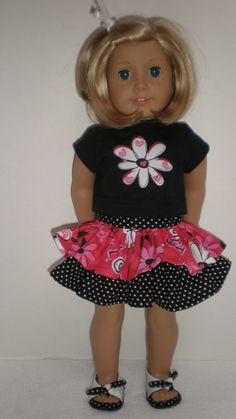 Red, Black & White Polka Dot Ruffled Skirt Tee Shirt fits American Girl 18 inch doll