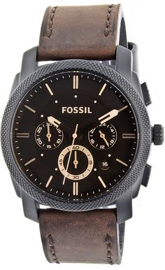 Fossil Men's FS4656 Leather Crocodile Analog with Brown Dial Watch  Fossil Watch Men
