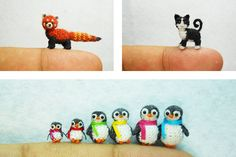 miniature crochet animals - love the red panda!