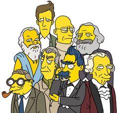 """""""Los Simpson y la filosofía"""" - William Irwin.    De izquierda a derecha y de arriba abajo: Sócrates, Wittgenstein, Foucault, Marx, Sartre, Barthes, Nietzsche y Kant."""