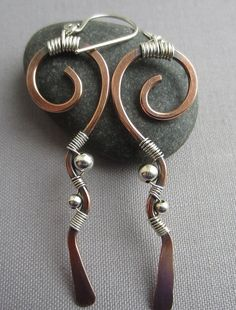 Mixed+Metal+Earrings/+Copper+Hammered+Earrings/+Copper+by+mese9,+$30.00