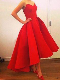 A-line+Sweetheart+Asymmetrical+Satin+Prom+Dresses/Evening+Dresses+#SP7303