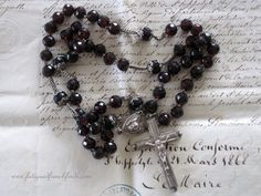Antique French Sterling Silver & Garnet Rosary Hallmarks Repousse Silver Angels www.fatiguedfrenchfinds.com