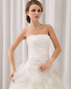 A-line Wedding Dresses Strapless Court Train Organza Satin Ivory 010010100305