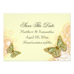 Yellow green butterfly wedding invitation