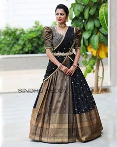 Saree Lehenga Designs For The South Indian Brides - Saree Styles Lehenga Choli Designs, Pattu Saree Blouse Designs, Fancy Blouse Designs, Saree Blouse Patterns, Blouse Neck Designs, Indian Lehenga, Lehenga Style Saree, Black Lehenga, Lehenga Dupatta