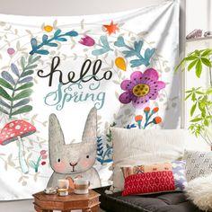 Hanging-Wall-Tapestry-Rabbit-Bunny-Carpet-Children-Kids-Girl-Bedroom-Outdoor-New