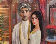 orgonon gurlz, lostinpersepolis: Iraqi artist Ali Al-Tajer Traditional Paintings, Traditional Art, Mongolia, Sri Lanka, Timor Oriental, Middle Eastern Art, Arabian Art, Wedding Painting, Islamic Paintings