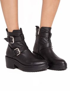 Buckled Ankle Boots - Platform Boots - Black Booties - $199