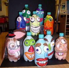 School Art Projects, Art School, Craft Stick Crafts, Easy Crafts, Craft Ideas, Kimmy Cantrell, Childrens Workshop, Paper Mache Projects, Plastic Bottle Art