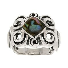 Carolyn Pollack Whirlwind Sterling Abalone Doublet Ring (205 BRL) ❤ liked on Polyvore featuring jewelry, rings, abalone jewelry, abalone ring and square cut ring