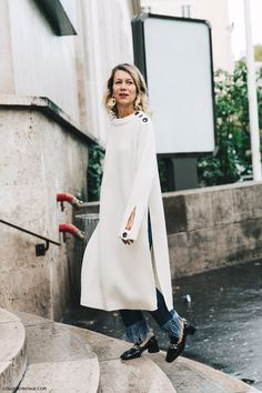 Pfw Paris Fashion Week Spring Summer 2016 Street Style Say Cheese Natalie Joos White Knit Jeans Loafers Big Earring 790x1185