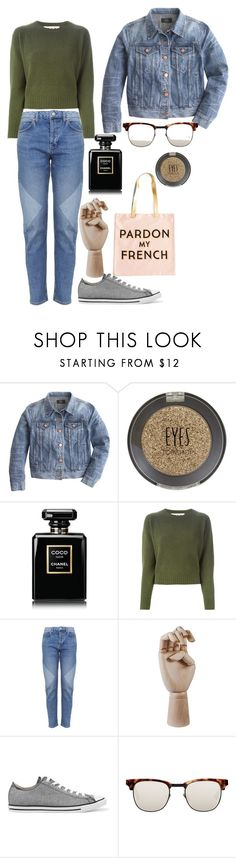 """""""French jean jacket"""" by amy-rachel-geraldine ❤ liked on Polyvore featuring J.Crew, Topshop, Chanel, Marni, HAY, Converse, Westward Leaning, Rosanna, jean and autumn"""