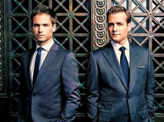 Star of Suits standing in front of ornate doors: Mike Ross (Patrick Adams)  and Harvey Specter (Gabriel Macht)