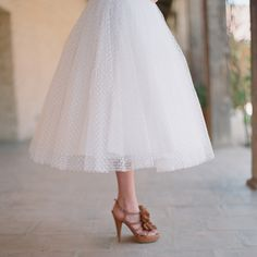 polka dot tulle tea length vintage inspired wedding dress