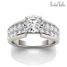 Wide double row diamond ring. WB5667E - 14KW Diamond Engagement Ring 1 carat with 1 carat Center Diamond This ring can be made with other sizes and shapes of center stones. Please enquire with us about the options and prices. WB5667E - 14KW Starting at $3,199 *Does not include center stone