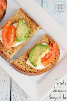 Tomato Avocado Bruschetta {Gluten-Free} - a simple light lunch (breakfast or dinner!) made with fresh tomatoes