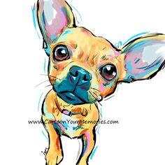 Chihuahua Art Print by CartoonYourMemories on Etsy