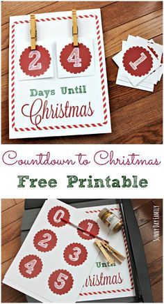 How Many Days Until Christmas? Keep track with this easy DIY Christmas Countdown sign - includes free printable background and numbers! A fun Christmas Countdown activity for the whole family.