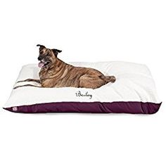 Plush Personalized Pet Pillow Dog Bed Custom Embroidered – Removable Pet Bed Cover – Large Burgundy