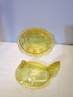 b23ccd483bb7 Fenton Decade 1980 s Candleglow Yellow Nesting Hen Dish  5186 YL