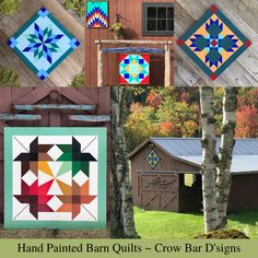 Hand painted wooden quilt squares are perfect for adding color to any outdoor space. Hang them on your barn, garden shed, porch, garage, or any outbuilding on your property. Their colorful designs will instantly draw the eye and highlight your outdoor living space. Each wood quilt panel is hand painted with a geometric design inspired by traditional quilt block patterns. They feature bold and vibrant colors that can be seen from a distance. Visit Crow Bar D'signs to order premade or custom.