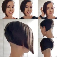 Shaved Bob, Shaved Undercut, Undercut Bob, Shaved Nape, Short Wedge Hairstyles, Girl Hairstyles, Short Hair Styles, Clipper Cut, Angled Bobs